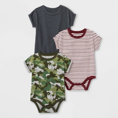 Baby Boys' 3pk Bodysuits - Cat & Jack™ Green/White/Gray 0-3M