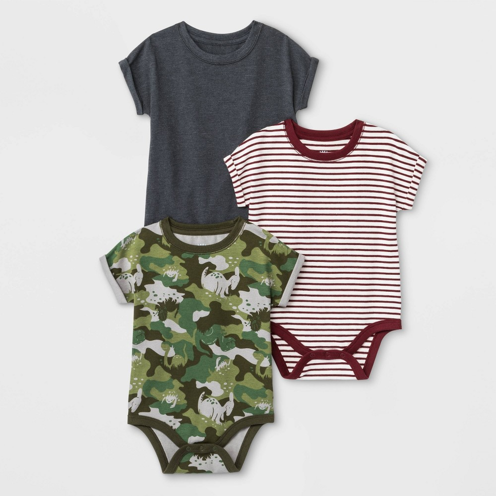 Image of Baby Boys' 3pk Bodysuits - Cat & Jack Green/White/Gray 0-3M, Boy's