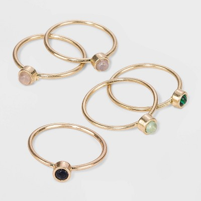 Semi-Precious Sunstone Angelite & Green Aventurin in Worn Gold Multi Ring Set - Universal Thread™ Gold