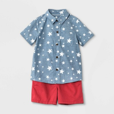 Toddler Boys' Americana Star Print Woven Chambray Short Sleeve Shirt and Pull-On Shorts Set - Cat & Jack™ Blue