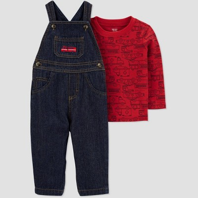 Baby Boys' 2pc Denim Firetruck Overall Set - Just One You® made by carter's Red Newborn