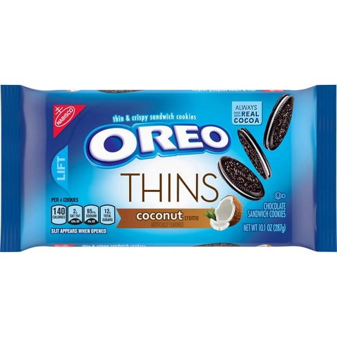 Oreo Thins Coconut Creme Chocolate Sandwich Cookies 10 1oz Target