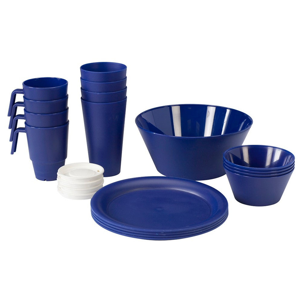 Image of CreativeWare Acrylic 21pc Dinnerware Set Navy (Blue)