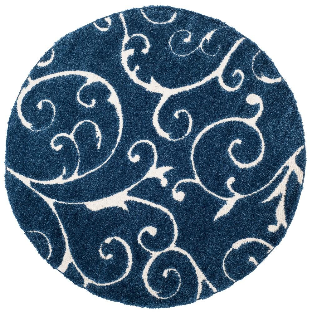 4 39 Round Swirl Loomed Area Rug Dark Blue Cream Safavieh