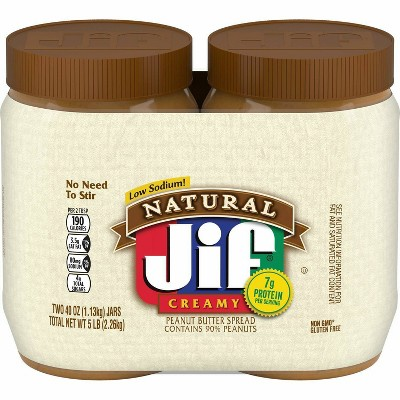 Jif Peanut Butter Twin Pack Natural Creamy - 80oz