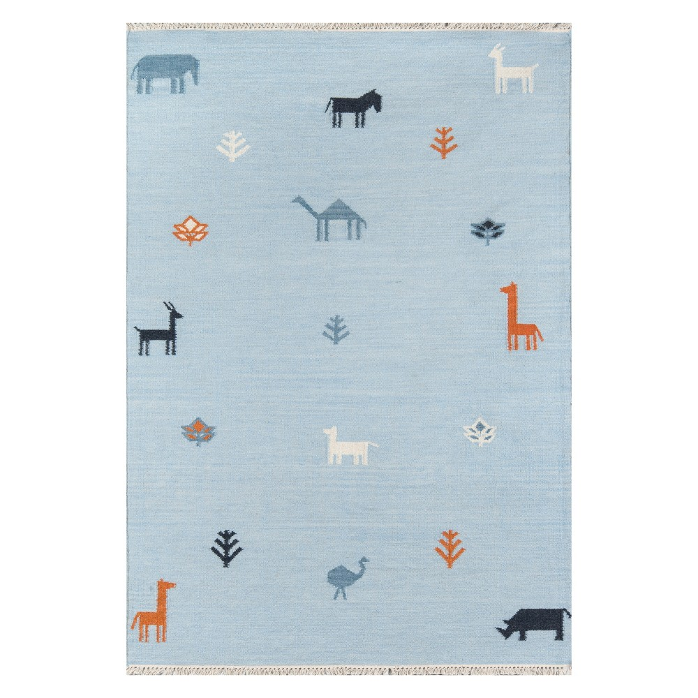 Image of 2'X3' Animal Print Woven Accent Rug Blue - Erin Gates By Momeni