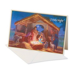 14ct Manger At Night Christmas Boxed Greeting Cards and White Envelopes