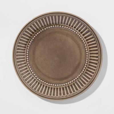 "8.6"" Stoneware Breman Embossed Salad Plate Taupe - Threshold™"
