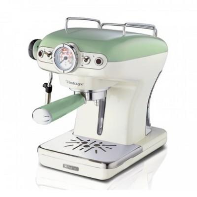 Ariete Vintage 850 Watt 0.9 Liter Kitchen Countertop Espresso Coffee Machine with Frothing Wand Filter Holder, Green