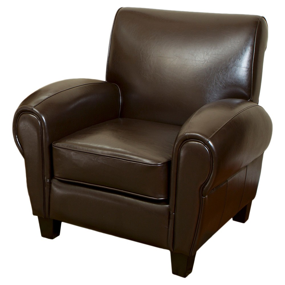 Finley Bonded Club Chair Brown Leather - Christopher Knight Home