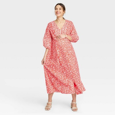 The Nines by HATCH™ Floral Print 3/4 Sleeve Button-Front Poplin Maternity Dress Red