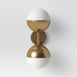 Glass Globe Double Sconce Wall Light Brass - Project 62™