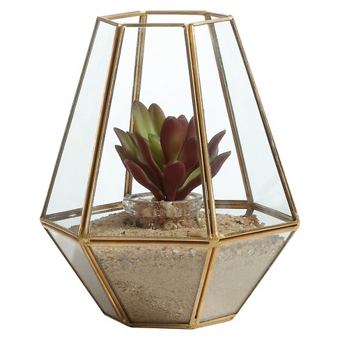 Danya B™ Diamond Shape Brass and Glass Terrarium - image 1 of 2
