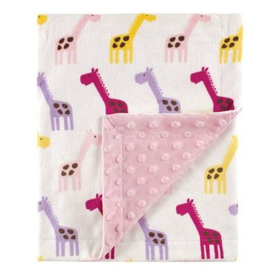 Hudson Baby Unisex Baby Plush Mink Blanket - Pink Giraffe One Size