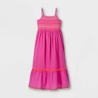 Girls' Embroidered Woven Maxi Sleeveless Dress - Cat & Jack™ Pink
