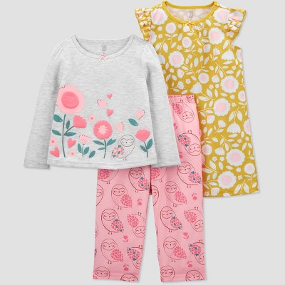 Toddler Girls' 3pc Floral Pajama Set - Just One You® made by carter's White/Gold/Pink