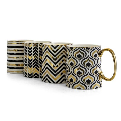 Gibson Home 14.8oz 4pk Ceramic Gold Geo Assorted Cups