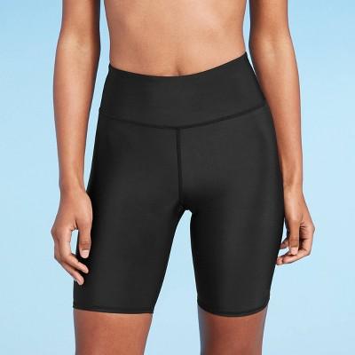 "Women's 7"" Mid-Rise Swim Bike Shorts - All in Motion™ Black"