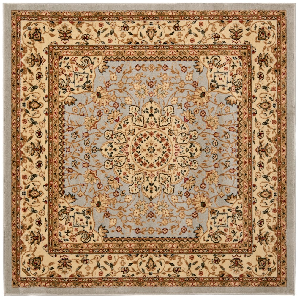 5 X5 Floral Loomed Square Area Rug Gray Beige Safavieh