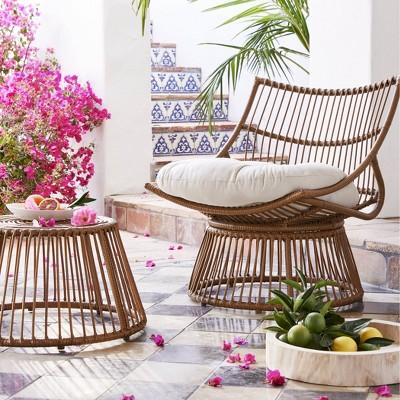 Borealis 2pc Patio Papasan Chair & Ottoman Set - Linen - Opalhouse™