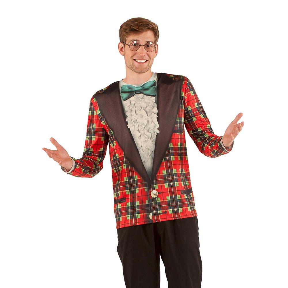 Men's Christmas Costume Tuxedo, Long Sleeve T-Shirt - Large, Multicolored