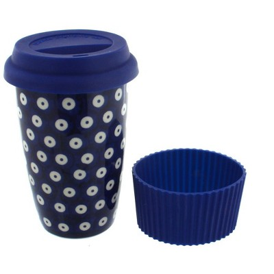 Blue Rose Polish Pottery Dots Travel Coffee Mug