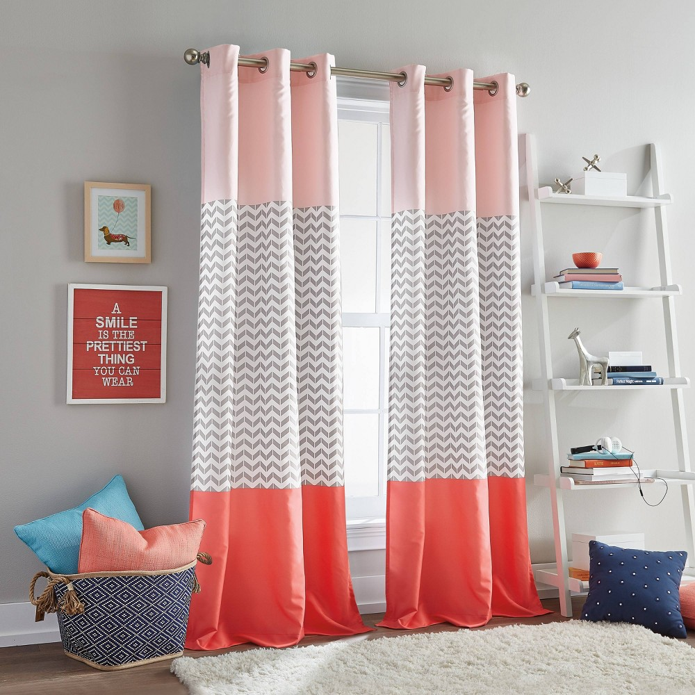 """Image of """"84"""""""" Chevron Colorblock Grommet Coral - Dream Factory, Pink"""""""