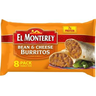 El Monterey Family Pack Bean & Cheese Frozen Burritos - 8ct