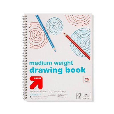 """8.5"""" x 11"""" Medium Weight Spiral Drawing Book 70 Pages White - Up&Up™"""