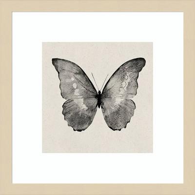 "15"" x 15"" Butterfly on Tan by Design Fabrikken Framed Wall Art Print Black - Amanti Art"