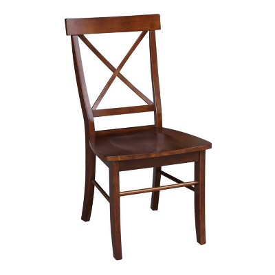 Set of 2 X Back Chairs with Solid Wood Seats Espresso - International Concepts