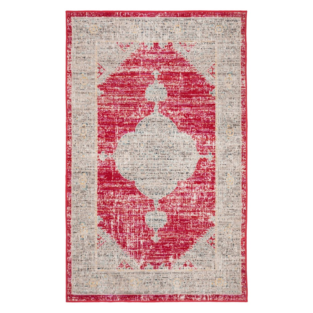 3'X5' Medallion Loomed Accent Rug Rose/Gray - Safavieh, Pink