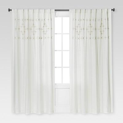 Metallic Embroidered Window Panel Sour Cream (54 x84 )- Threshold™