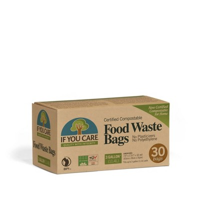 If You Care Compostable Flap Tie Handles Food Trash Bags - 3 Gallon - 30ct