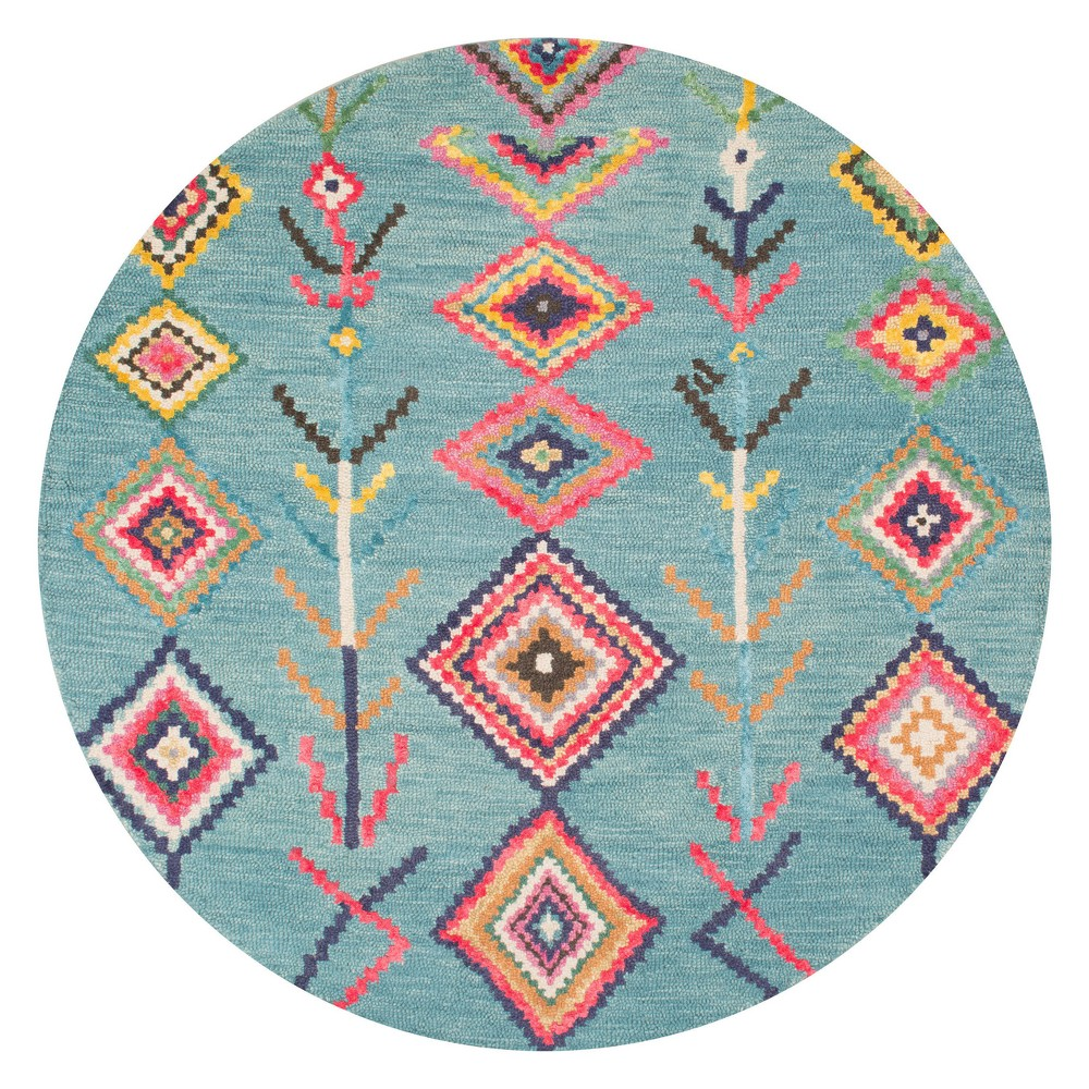 Blue Solid Tufted Round Area Rug 6' - nuLOOM, Turquoise