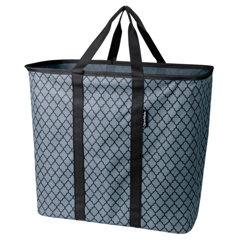 CleverMade SnapBasket CarryAll XL 64L Collapsible Laundry Basket/Tote - Charcoal/Black Quatrefoil - image 1 of 2