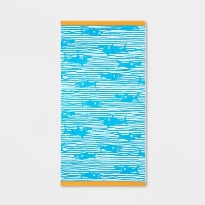 XL Shark Striped Beach Towel Blue - Sun Squad™