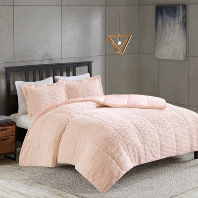 2pc Twin Vermont Broken Stripe Faux Fur Comforter Set Blush