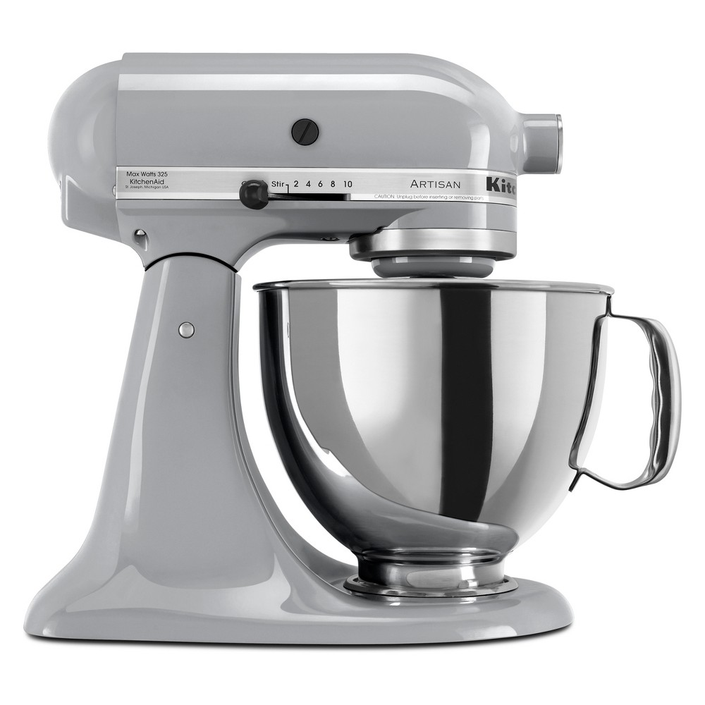 KitchenAid Refurbished Artisan Series 5qt Stand Mixer – Chrome (Grey) RRK150MC 53499032
