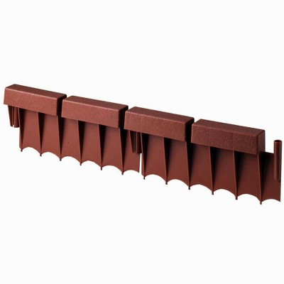 Suncast BBE10TC Interlocking No Dig Border Edging, 12 Inch Section, Brick Design & Resin Construction for Garden, Lawn, & Landscape Edging, 10 Pack