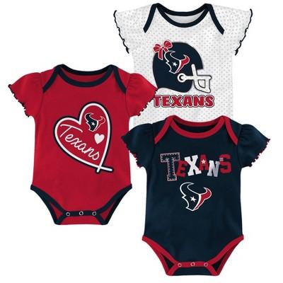 NFL Houston Texans Baby Girls' Newest Fan 3pk Bodysuit Set - 18M