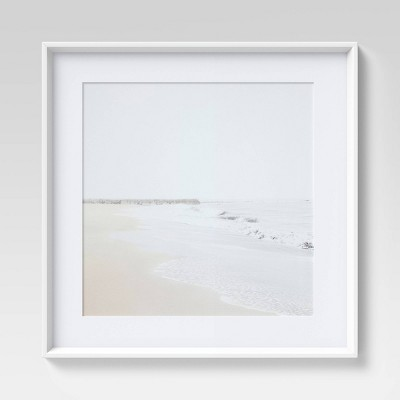 "24"" x 24"" Beach Framed Wall Art White - Threshold™"