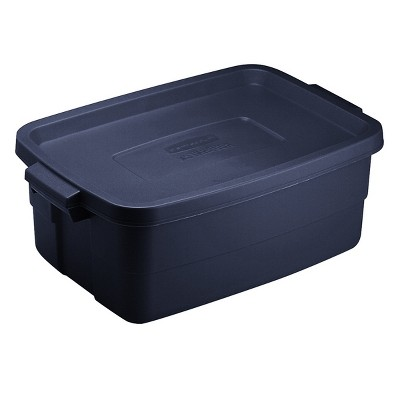 Rubbermaid Roughneck 3 Gallon Rugged Storage Tote in Dark Indigo Metallic with Lid and Handles for Home, Basement, Garage, (6 Pack)