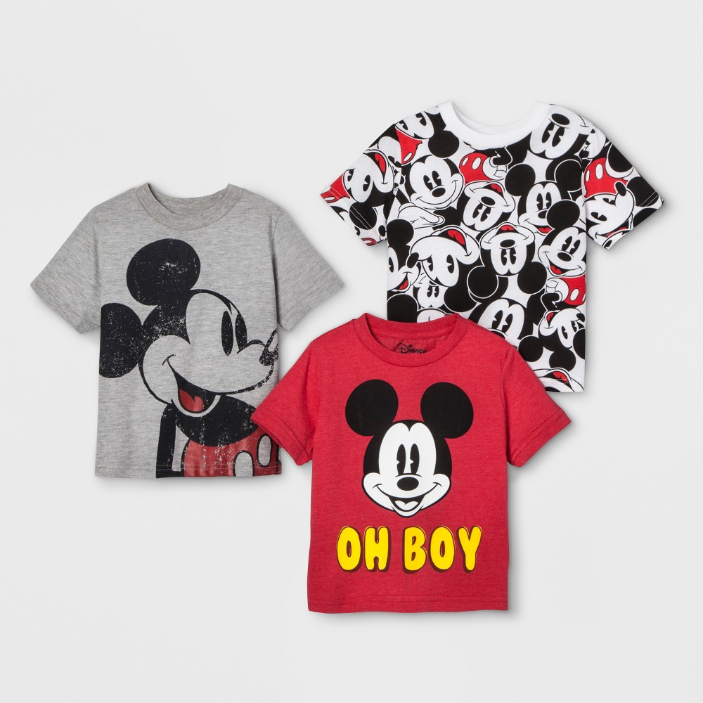 Toddler Boys' 3pk Disney Mickey Mouse & Friends Mickey Mouse Short Sleeve T-Shirts - Black/White 18M, Multicolored