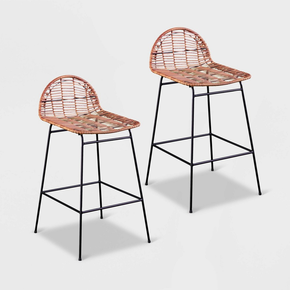 Peldrew 2pk All-Weather Patio Stools - Natural with Black - Aiden Lane