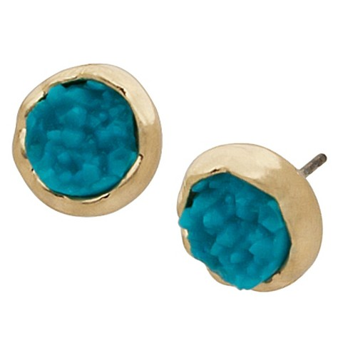 Women's Druzy Blue Button Ear Gold - image 1 of 1