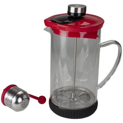 Northlight Red and Clear French Press Coffee and Brewed Tea Maker