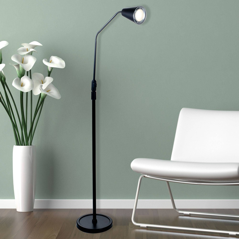 Image of Led Flexible Adjustable 5 Foot Floor Lamp Black by Lavish Home