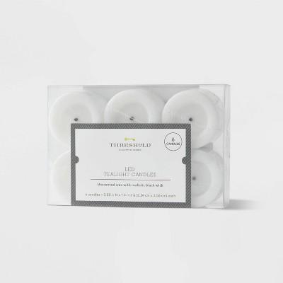 6pk LED Tealight Flameless Black Wick Candles White - Threshold™