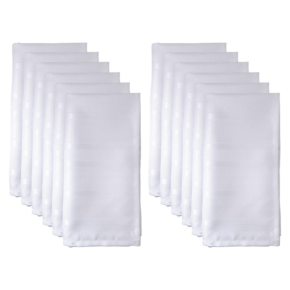 Image of 12pk Polyester Jacquard Stripe Table Napkins White - Saro Lifestyle